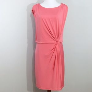 Aidan Mattox Scoop Neck Front Gather Pink Dress 12